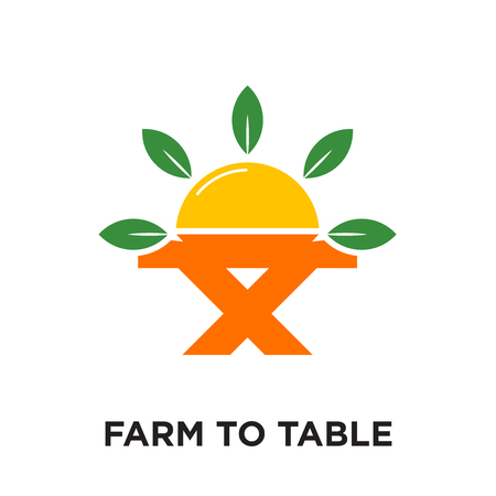 farm to table logo isolated on white background for your web and mobile app design , colorful vector icon, brand sign & symbol for your business
