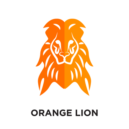 orange lion logo isolated on white background for your web and mobile app design , colorful vector icon, brand sign & symbol for your business