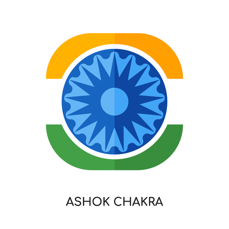 ashok chakra logo isolated on white background for your web and mobile app design , colorful vector icon, brand sign & symbol for your business