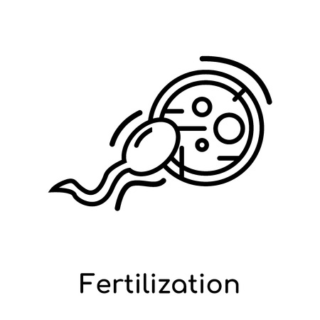 Fertilization icon isolated on white background for your web and mobile app design , vector black sign and symbol , outline thin element Stock Illustratie