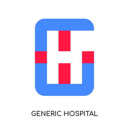 generic hospital logo isolated on white background for your web and mobile app design , colorful vector icon, brand sign & symbol for your business