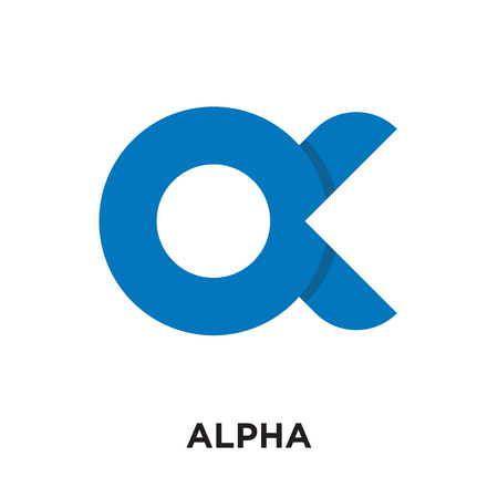 logo alpha isolated on white background for your web and mobile app design , colorful vector icon, brand sign & symbol for your business
