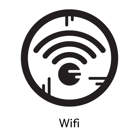 Wireless internet icon isolated on white background for your web and mobile app design , black filled vector sign and symbols