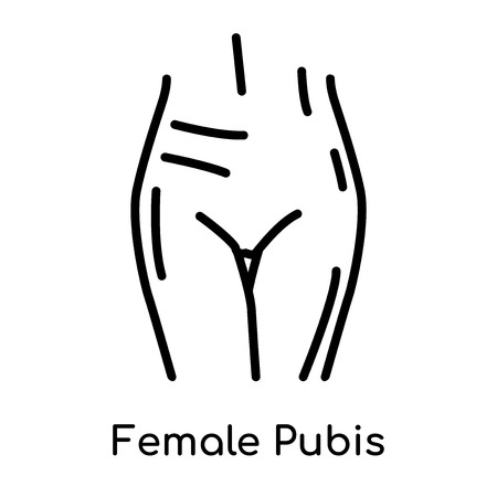 Female Pubis icon isolated on white background for your web and mobile app design , vector black sign and symbol , outline thin element