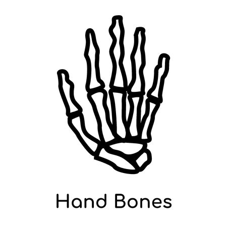 Hand Bones icon isolated on white background for your web and mobile app design , vector black sign and symbol , outline thin element