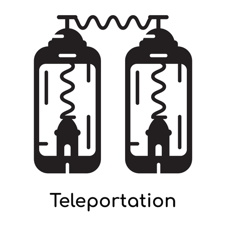 Teleportation icon isolated on white background for your web and mobile app design , black filled vector sign and symbols