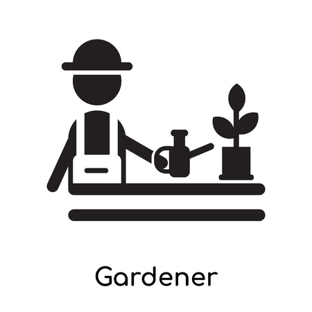 Gardener isolated on white background for your web and mobile app design , black filled vector sign and symbols 向量圖像