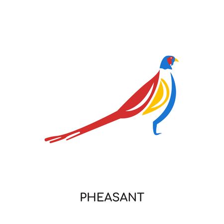 pheasant logo isolated on white background for your web and mobile app design , colorful vector icon, brand sign & symbol for your business