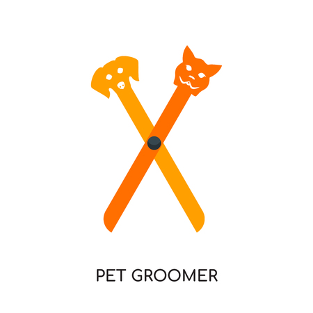 pet groomer logo isolated on white background for your web and mobile app design , colorful vector icon, brand sign & symbol for your business