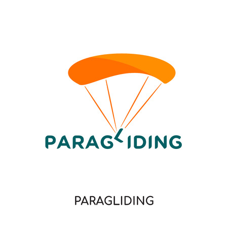 paragliding logo isolated on white background for your web and mobile app design , colorful vector icon, brand sign & symbol for your business