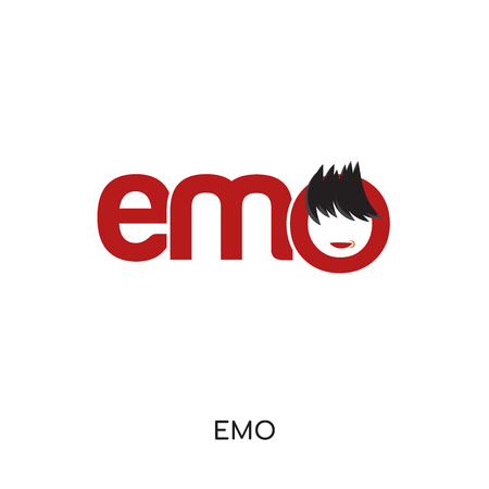 emo logo isolated on white background for your web and mobile app design , colorful vector icon, brand sign & symbol for your business