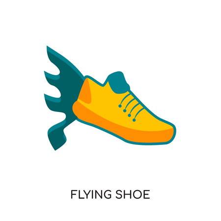 flying shoe logo isolated on white background for your web and mobile app design , colorful vector icon, brand sign & symbol for your business Illustration