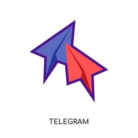 telegram logo color isolated on white background for your web and mobile app design , colorful vector icon, flat sign and symbol Illustration