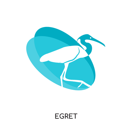 egret logo isolated on white background for your web and mobile app design , colorful vector icon, brand sign & symbol for your business
