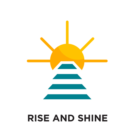 rise and shine logo isolated on white background for your web and mobile app design , colorful vector icon, brand sign & symbol for your business