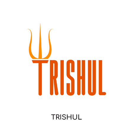 trishul logo isolated on white background for your web and mobile app design , colorful vector icon, flat sign and symbol Illustration
