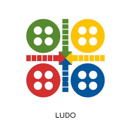 ludo logo isolated on white background for your web and mobile app design , colorful vector icon, brand sign & symbol for your business