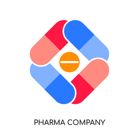 pharma company logo isolated on white background for your web and mobile app design , colorful vector icon, brand sign & symbol for your business