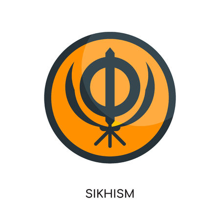 sikhism logo isolated on white background for your web and mobile app design , colorful vector icon, flat sign and symbol Illustration