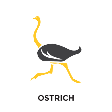 ostrich logo isolated on white background for your web and mobile app design , colorful vector icon, brand sign & symbol for your business