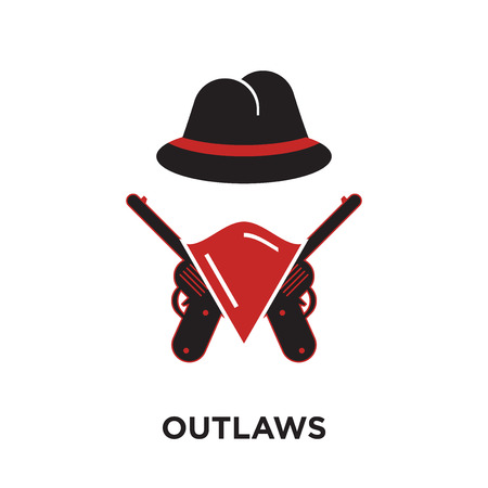 outlaws logo isolated on white background for your web and mobile app design , colorful vector icon, brand sign & symbol for your business