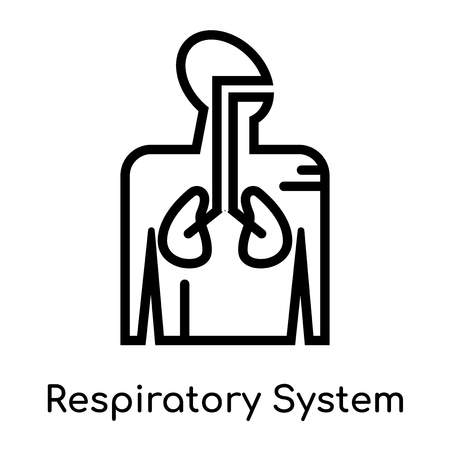 Respiratory System icon isolated on white background for your web and mobile app design , vector black sign and symbol , outline thin element