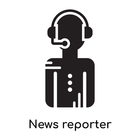 News reporter icon isolated on white background for your web and mobile app design , black filled vector sign and symbols