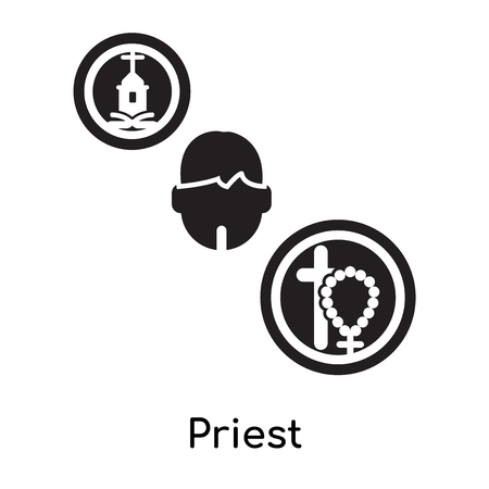 Priest isolated on white background for your web and mobile app design , black filled vector sign and symbols Illustration