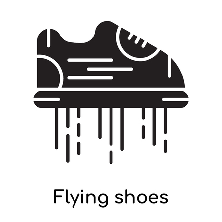 Flying shoes icon isolated on white background for your web and mobile app design , black filled vector sign and symbols
