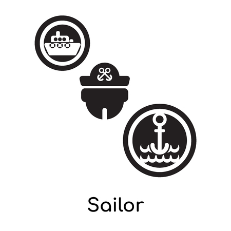 Sailor isolated on white background for your web and mobile app design , black filled vector sign and symbols