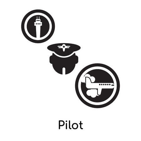 Pilot isolated on white background for your web and mobile app design , black filled vector sign and symbols