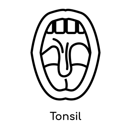 Tonsil icon isolated on white background for your web and mobile app design , vector black sign and symbol , outline thin element