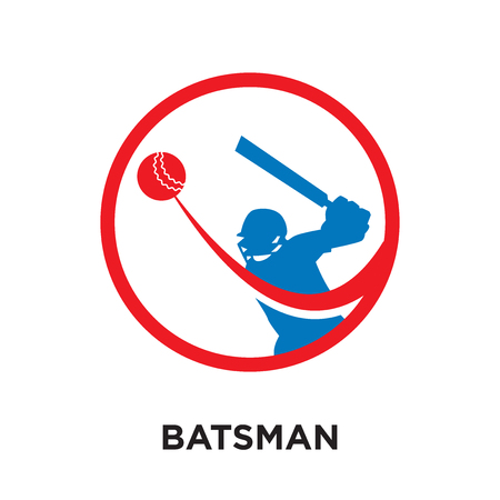 batsman logo isolated on white background for your web and mobile app design , colorful vector icon, brand sign & symbol for your business