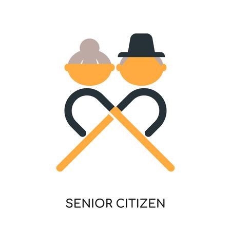 Seniorenlogo lokalisiert auf weißem Hintergrund für Ihr Web- und Mobilanwendungsdesign, buntes Vektorsymbol, flaches Zeichen und Symbol