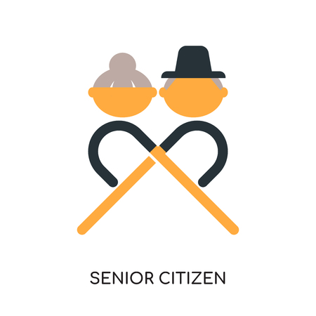 seniorenlogo op witte achtergrond voor uw web en mobiele app ontwerp, kleurrijk vectorpictogram, vlak teken en symbool wordt geïsoleerd dat