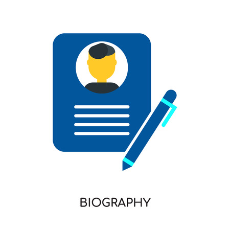 biography logo isolated on white background for your web and mobile app design , colorful vector icon, brand sign & symbol for your business