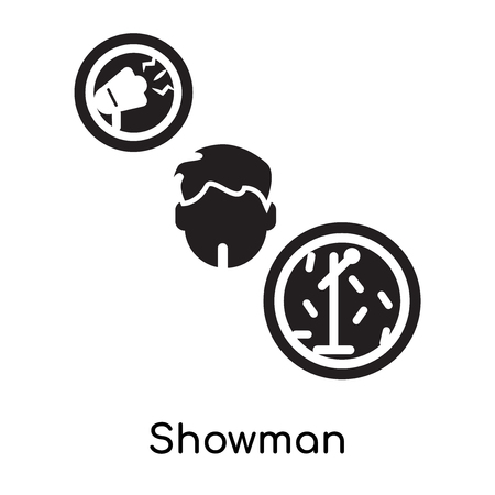 Showman isolated on white background for your web and mobile app design , black filled vector sign and symbols