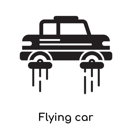 Flying car icon isolated on white background for your web and mobile app design , black filled vector sign and symbols Illustration