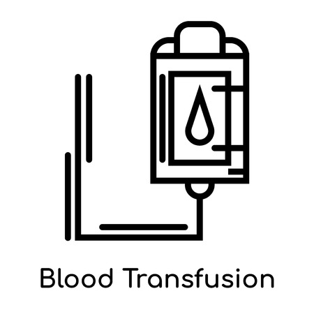 Blood Transfusion icon isolated on white background for your web and mobile app design , vector black sign and symbol , outline thin element Illustration