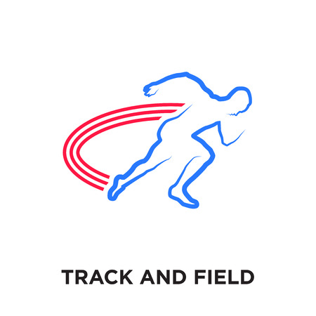 track and field logo isolated on white background for your web and mobile app design , colorful vector icon, brand sign & symbol for your business