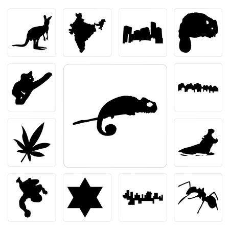 Set of chameleon, ant, haiti, star david, chalk, hippo, marijuana leaf, utah, koala icons 向量圖像