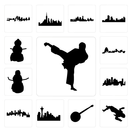 Set of karate kick, crime scene body, banjo, seattle skyline on white background, , minnesota, houston skyline, snowman, missouri, snowman icons
