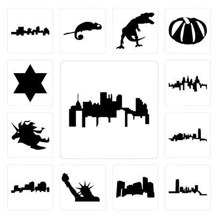 Set of pennsylvania state, oklahoma, minnesota, statue liberty, louisiana outline on white background, unicorn head, star david icons