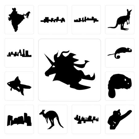 Set of unicorn head, koala, haiti, kangaroo outline on white background, minnesota, beaver, goldfish, chameleon, kentucky state icons