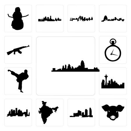 Ensemble de 13 icônes modifiables simples telles que l'horizon de cincinnati, le visage de cochon, la longue île, la carte de l'inde, la skyline de Houston de Seattle sur fond blanc, le coup de pied de karaté peut être utilisé pour le mobile, l'interface utilisateur web