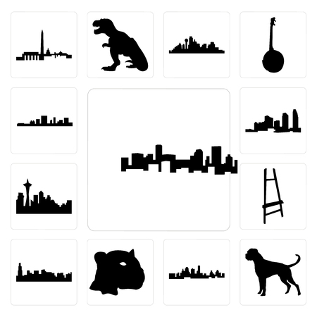 Set Of 13 simple editable icons such as denver skyline, boxer dog, kansas city jaguar face, chicago painter easel, seattle skyline on white background, can be used for mobile, web UI