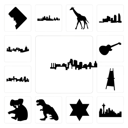 Set Of 13 simple editable icons such as kansas city skyline, seattle skyline on white background, , star of david, t rex, koala, painter easel, denver can be used for mobile, web UI