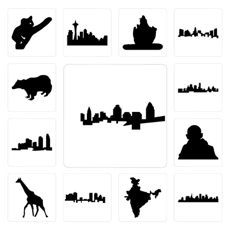 Set Of 13 simple editable icons such as cincinnati skyline, st paul skyline on white background, , india map, fort worth giraffe, gandhi, long island can be used for mobile, web UI