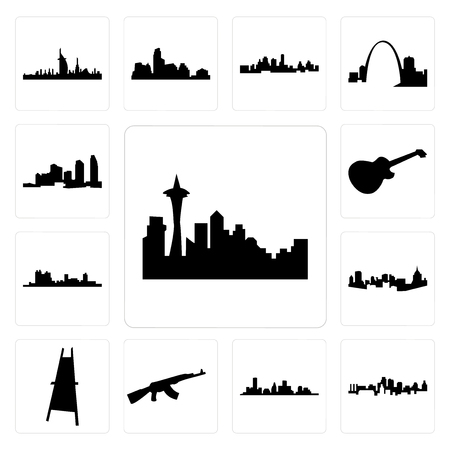 Set Of 13 simple editable icons such as seattle skyline on white background, , kansas city skyline, houston ak47, painter easel, pittsburgh can be used for mobile, web UI