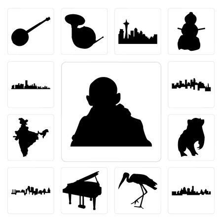 Set Of 13 simple editable icons such as gandhi, kansas city skyline, stork, grand piano, badger, india map, minnesota, florida can be used for mobile, web UI Illustration